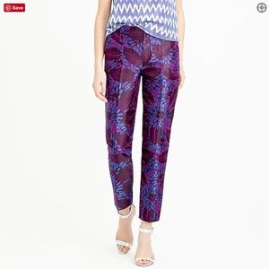 JCrew Purple and Blue Floral Jacquard Pants
